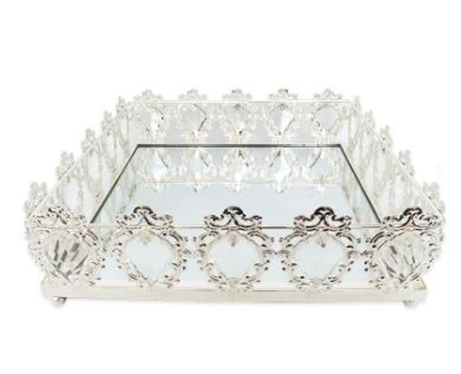 Bandeja Quadrada Prata Cristal K9 33x10cm  - Arrivo Mobile