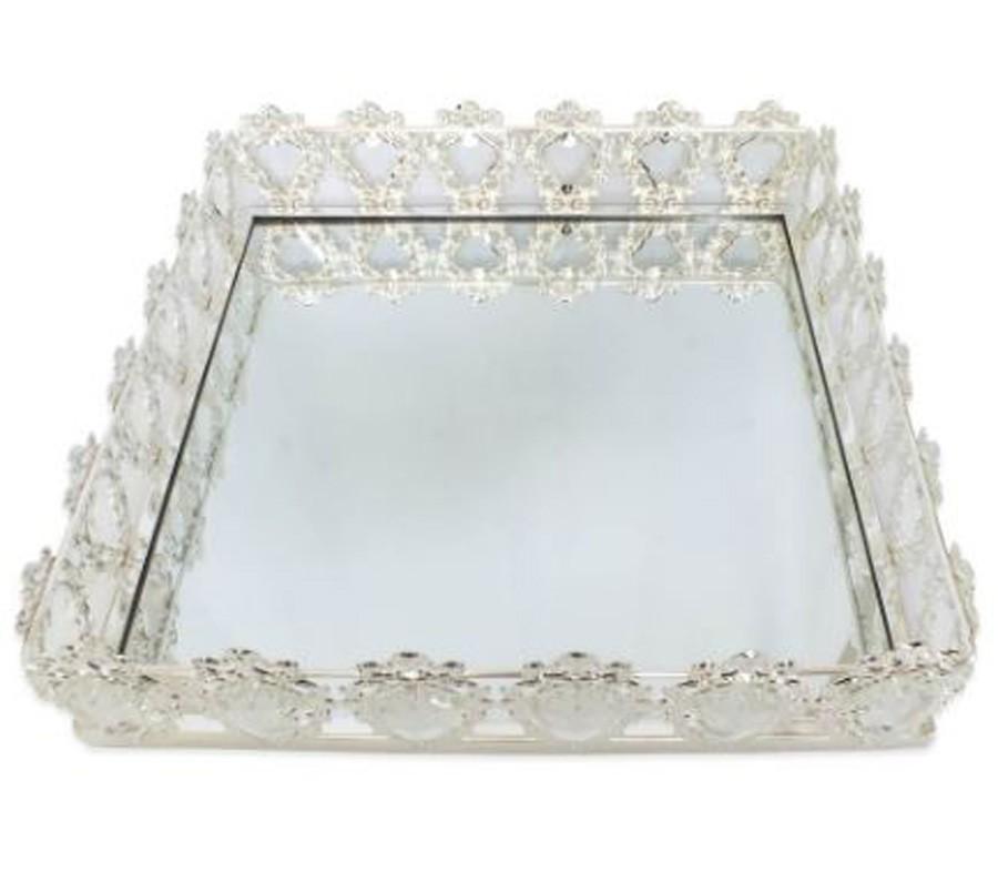Bandeja Quadrada Prata Cristal K9 38x10cm  - Arrivo Mobile