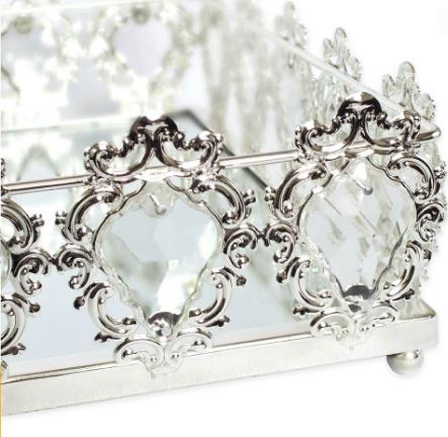 Bandeja Quadrada Prata Cristal K9 45x10cm  - Arrivo Mobile
