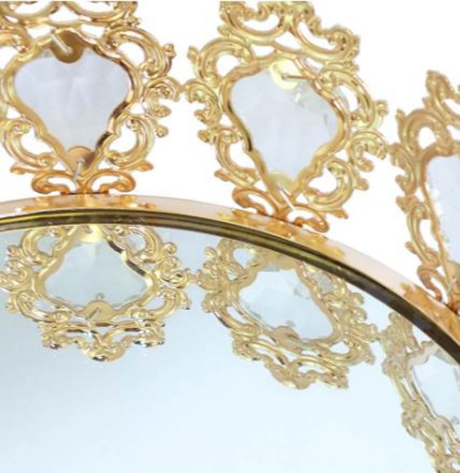 Bandeja Redonda Dourada Cristal K9 48x10cm  - Arrivo Mobile