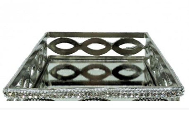 Bandeja Retangular Alumínio 23x15,5x7,6cm  - Arrivo Mobile