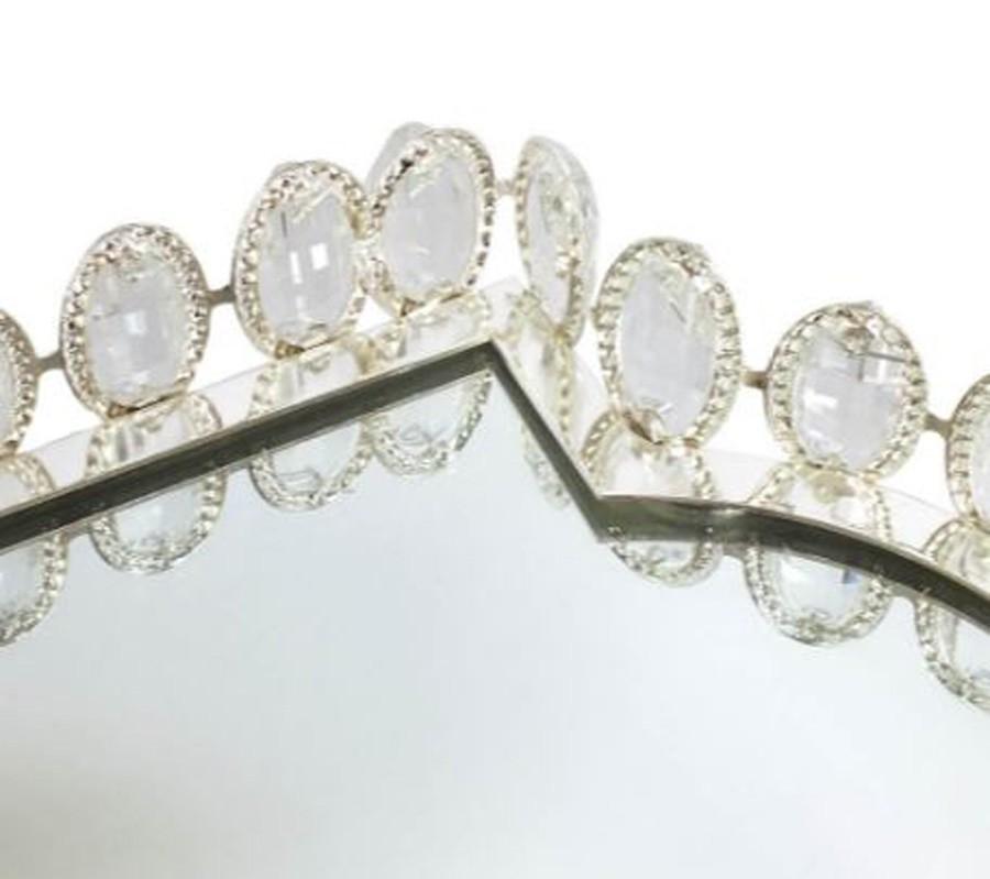 Bandeja Retangular Prata Cristal K9 36x25x6cm  - Arrivo Mobile