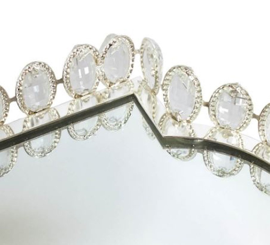Bandeja Retangular Prata Cristal K9 46x31x6cm  - Arrivo Mobile