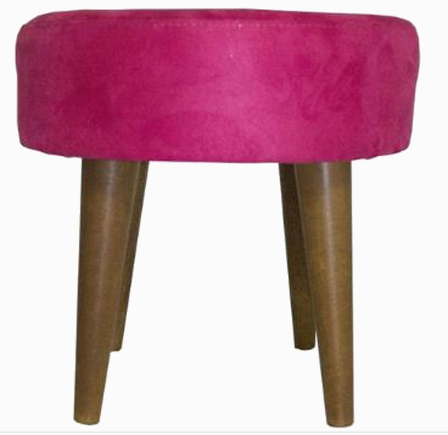 Banqueta Redonda Rosa Palito Baixo Suede 39x35x35cm  - Arrivo Mobile