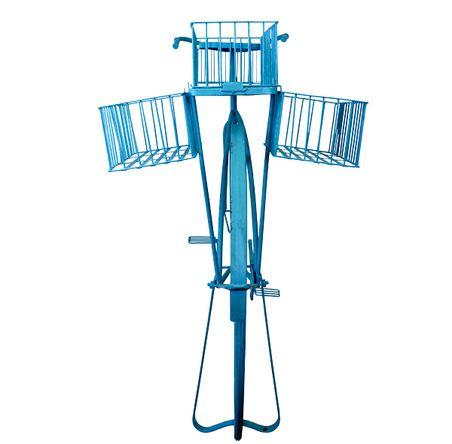Bicicleta Retrô Azul Decorativa Metal Oldway 101x184x57cm  - Arrivo Mobile