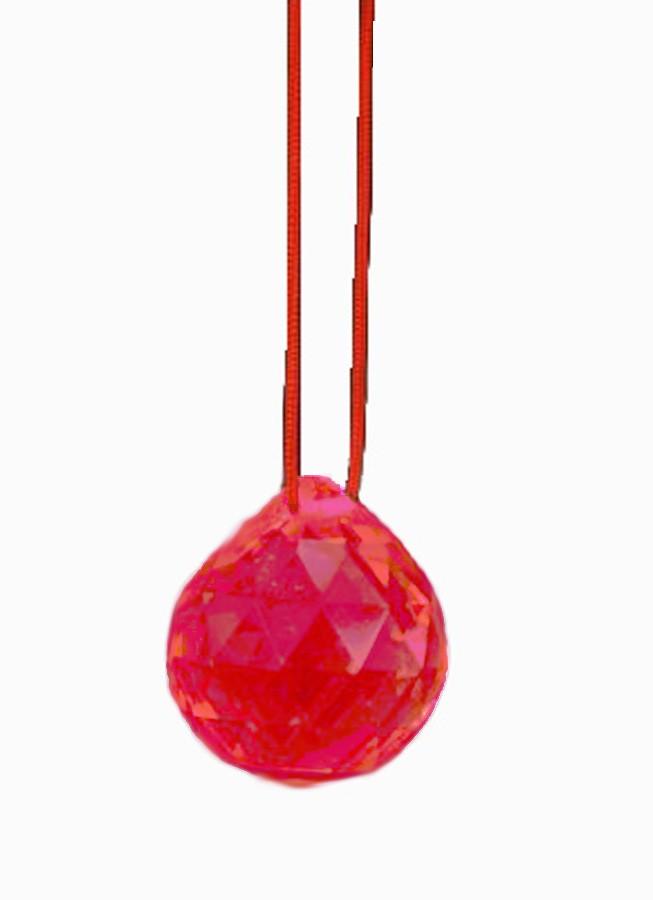 Bola De Cristal Vermelha 40mm Feng Shui Imp  - Arrivo Mobile