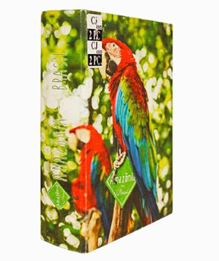 Book Box Cj 2 pc Araras Vermelhas 20x14x4cm  - Arrivo Mobile