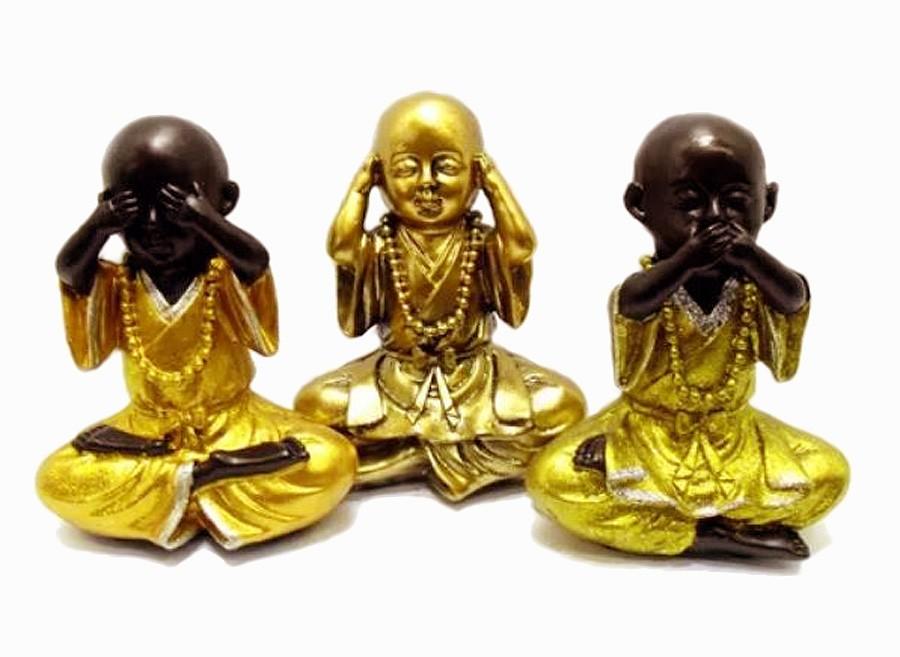 Estatua Imagem de Buda Dourado Não Ouço/Vejo/Falo Resina Importado  - Arrivo Mobile