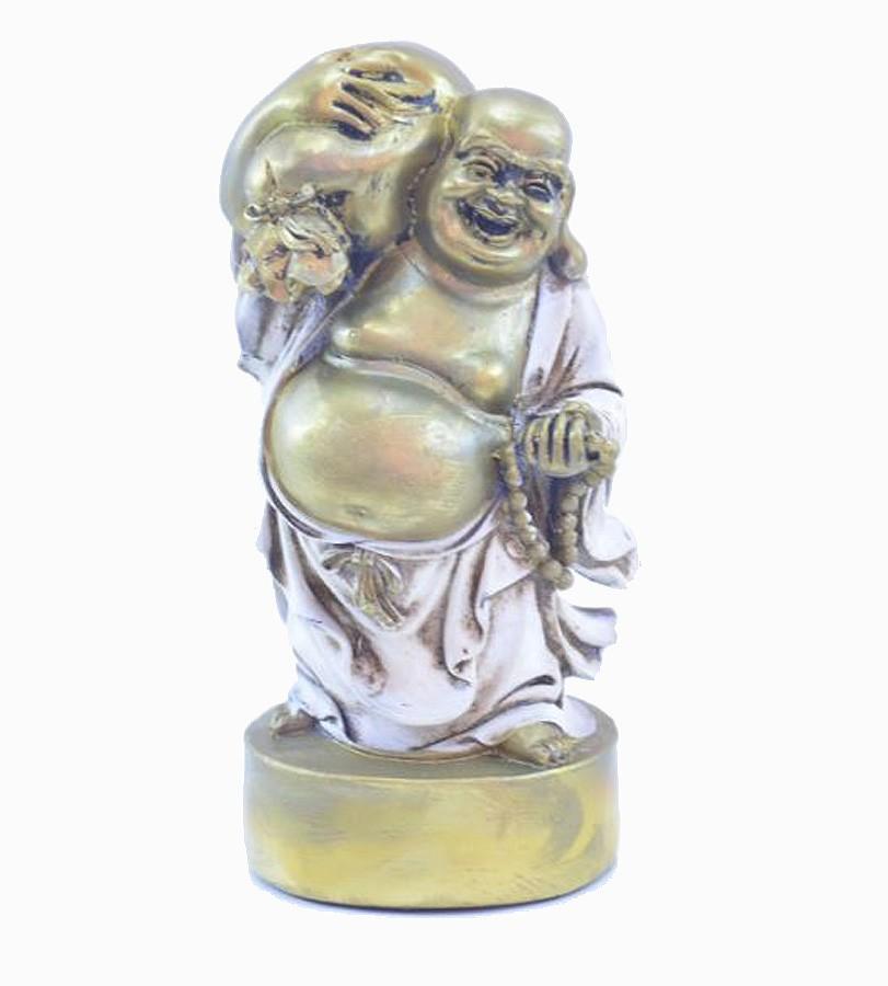 Estatua Imagem de Buda Em Pé Branco Com Saco  - Arrivo Mobile