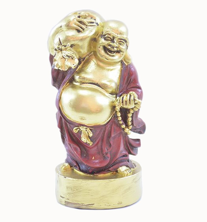 Estatua Imagem de Buda Em Pé Vermelho Com Saco  - Arrivo Mobile
