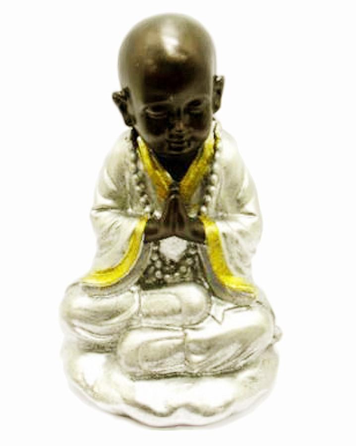 Estatua Imagem de Buda Namaste Prata Importado  - Arrivo Mobile