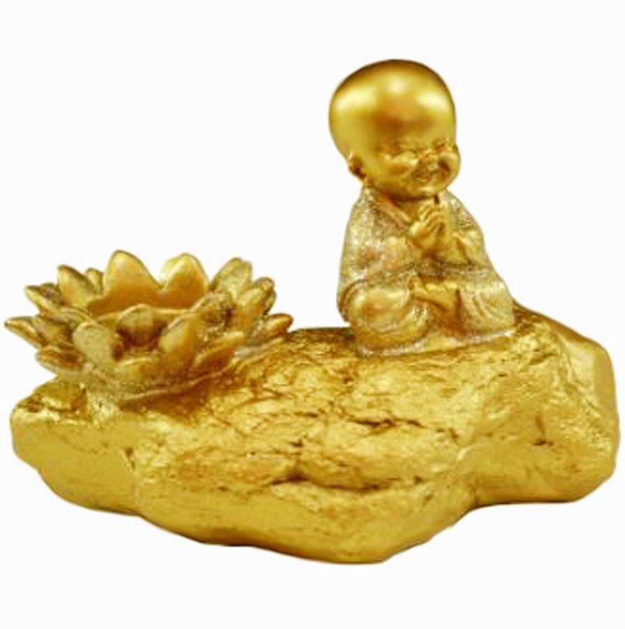 Estatua Imagem de Buda Porta Vela Dourado Importado  - Arrivo Mobile