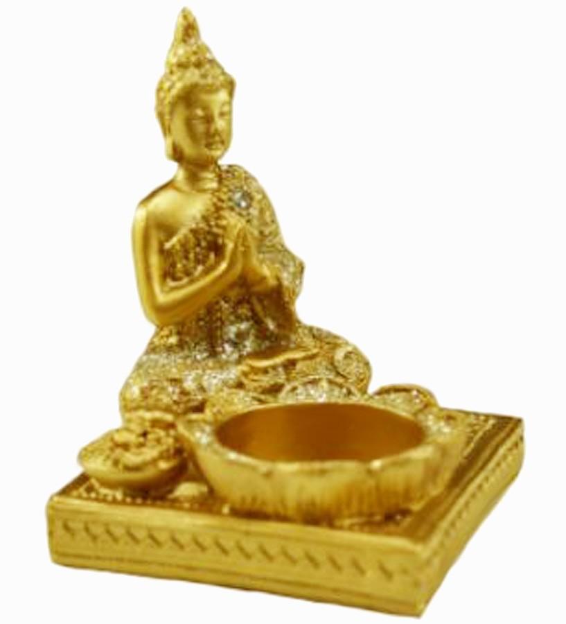 Estatua Imagem de Buda Porta Vela Quadrado Importado  - Arrivo Mobile