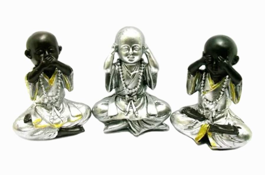 Estatua Imagem de Buda Prata Não Ouço/Vejo/Falo Resina Importado  - Arrivo Mobile