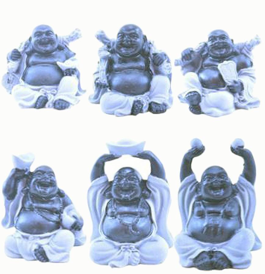 Estatua Imagem de Buda Preto E Cinza C/ 6 Importado  - Arrivo Mobile