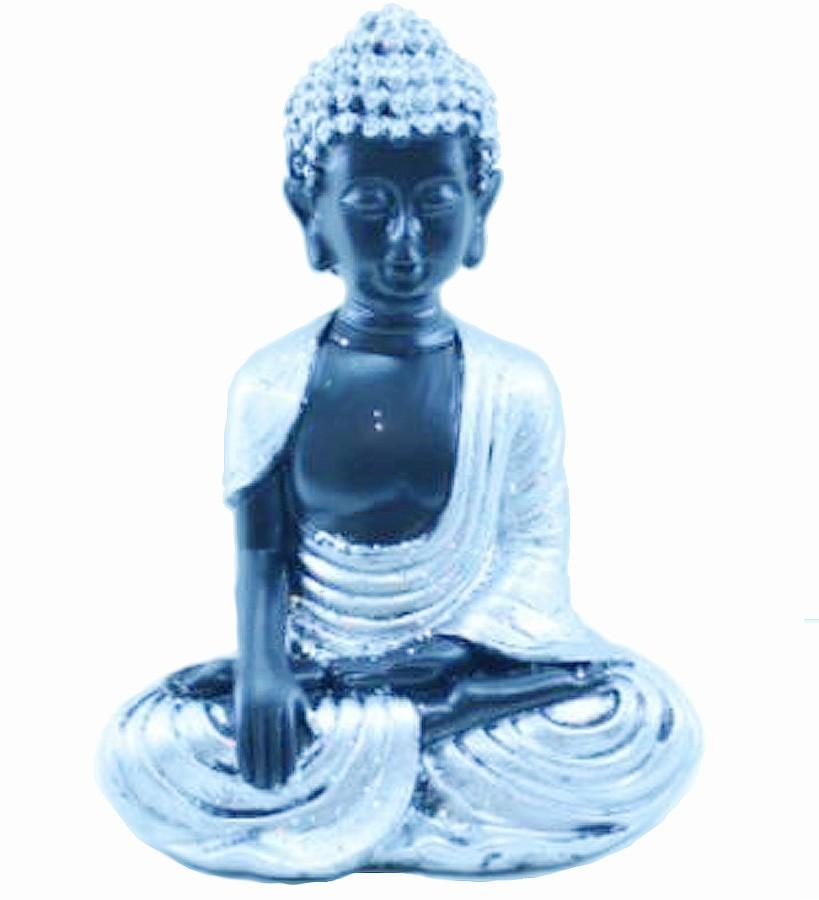 Estatua Imagem de Buda Tibetano Prata De Resina Importado  - Arrivo Mobile