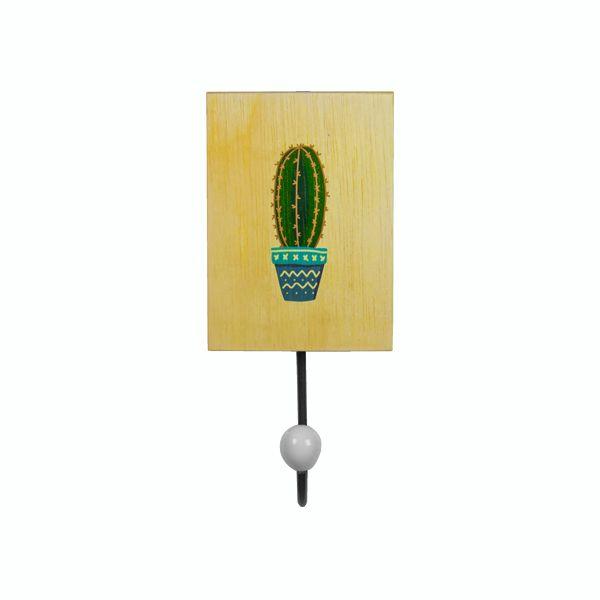 Cabideiro Em Metal e Madeira Cactus Vaso Azul  - Arrivo Mobile