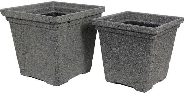 Cachepô Pvc Conjunto 2 Pc Concreto Quad Cinza Greenway  - Arrivo Mobile