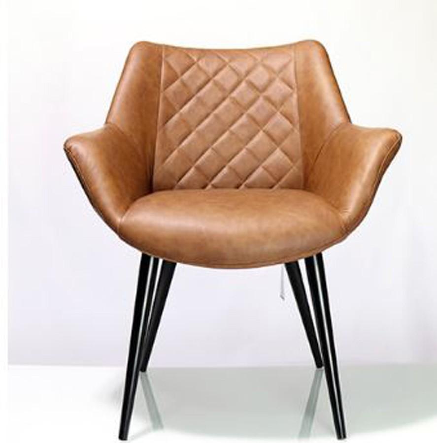 Cadeira Concha Pu Marrom Matelasse Pés Pretos  - Arrivo Mobile
