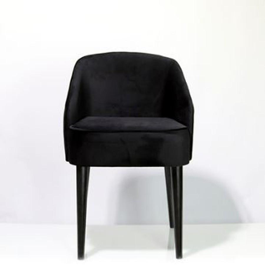 Cadeira Curva Veludo Preto 80x49x57cm  - Arrivo Mobile