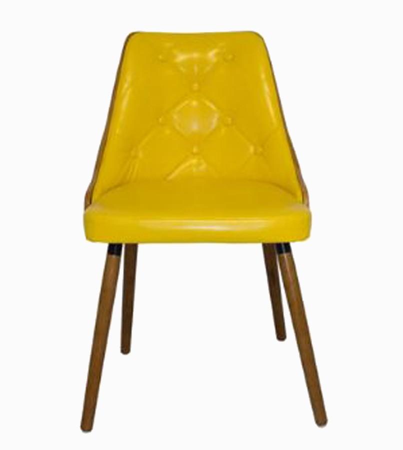 Cadeira Encosto Vergada Pu Yellow Pes Madeira  - Arrivo Mobile
