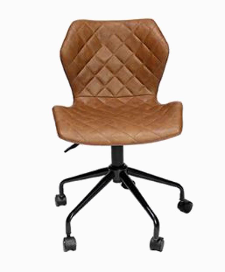 Cadeira Escritorio Matelasse Pu Marrom 79-87x47x53cm  - Arrivo Mobile