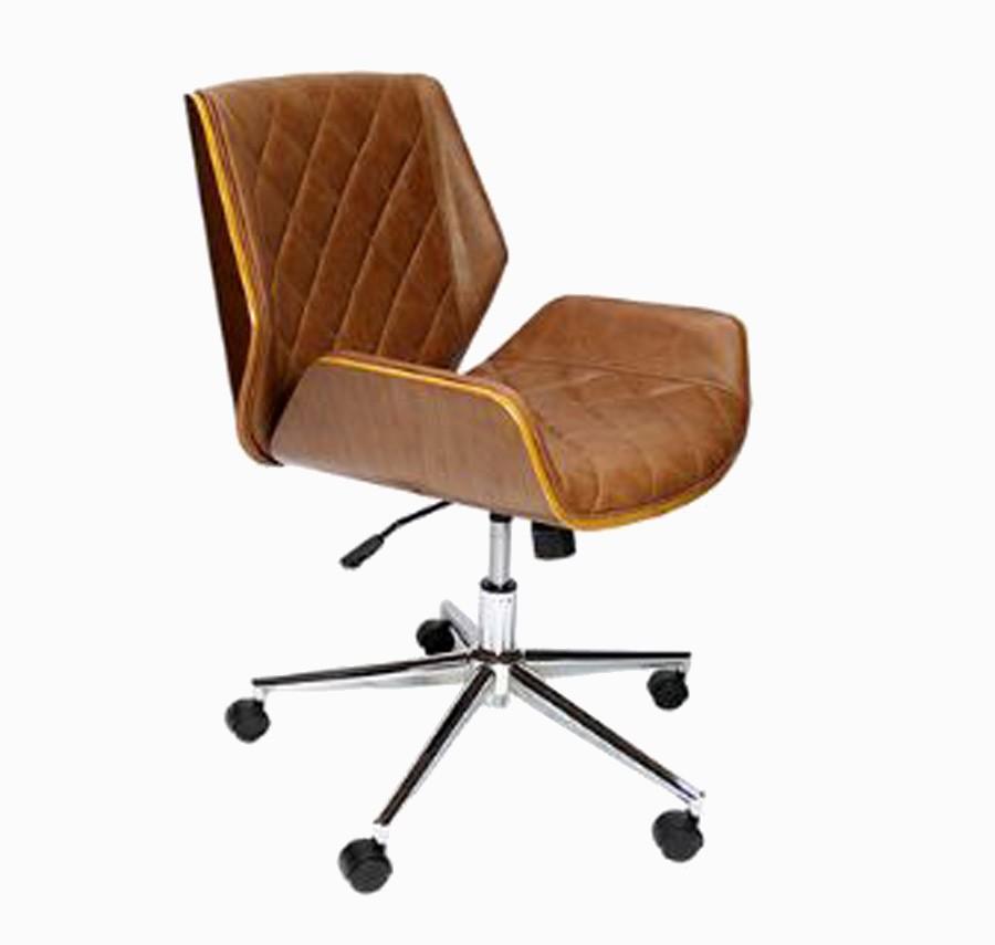 Cadeira Escritório Vergada Matelasse Pu Marrom  - Arrivo Mobile