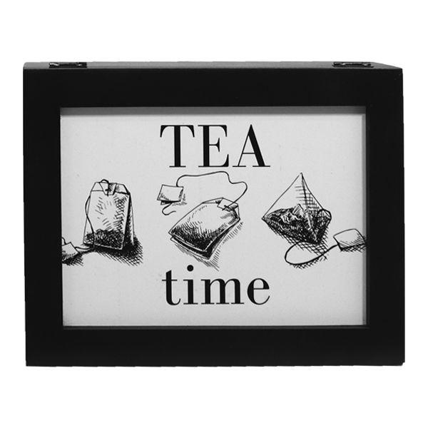 Caixa De Chás Tea Time Preta 9x25x19,5cm  - Arrivo Mobile