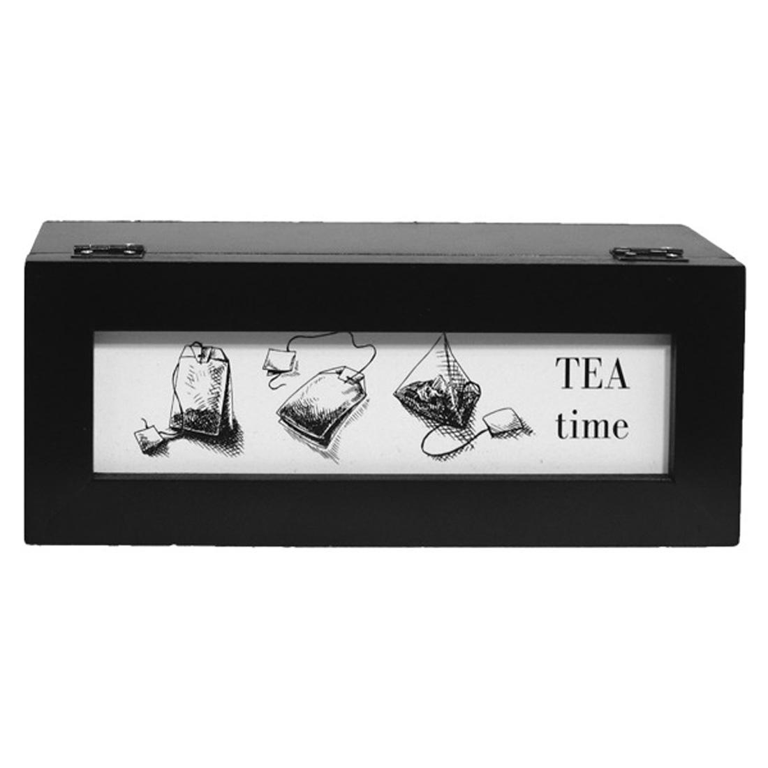 Caixa De Saquinhos de Chás Tea Time Preta 9x25x9,5cm  - Arrivo Mobile