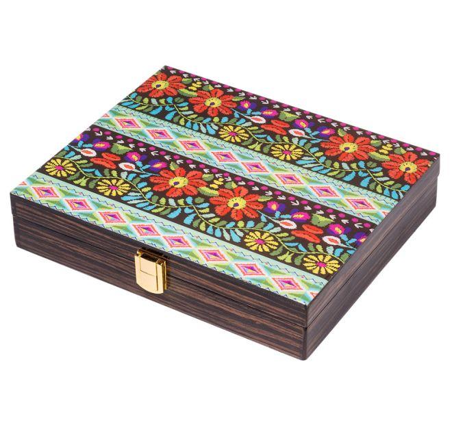 Caixa Decorativa Em Madeira Laqueada Com Tampa De Vidro Estampado  - Arrivo Mobile