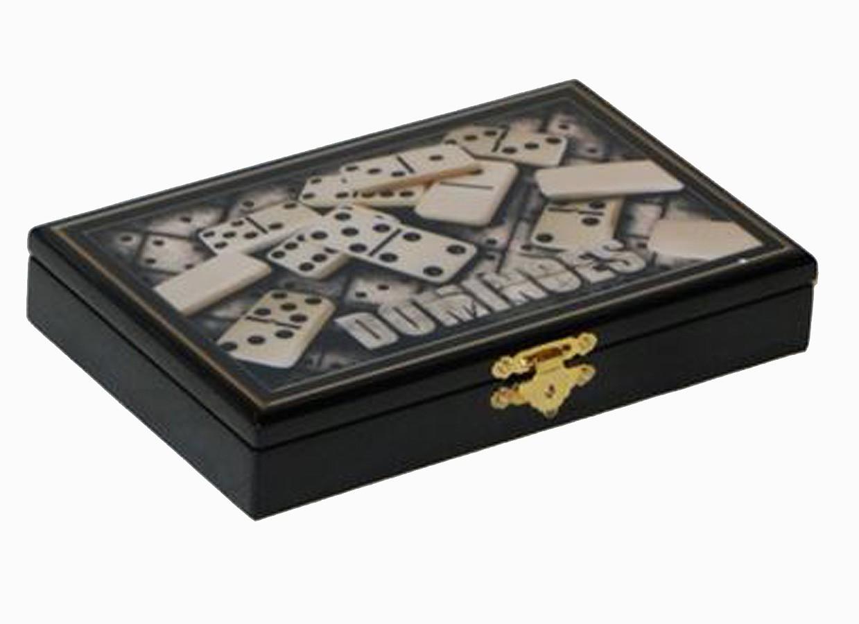 Caixa Dominós Em Laca Preta Goldway 3x20x12cm  - Arrivo Mobile