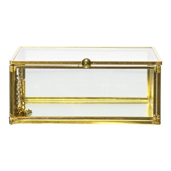 Caixa Em Vidro E Metal Dourada  - Arrivo Mobile