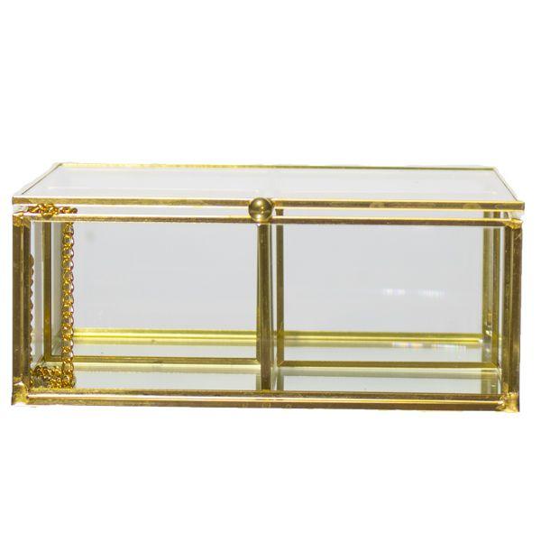 Caixa Em Vidro E Metal Dourada doura  - Arrivo Mobile