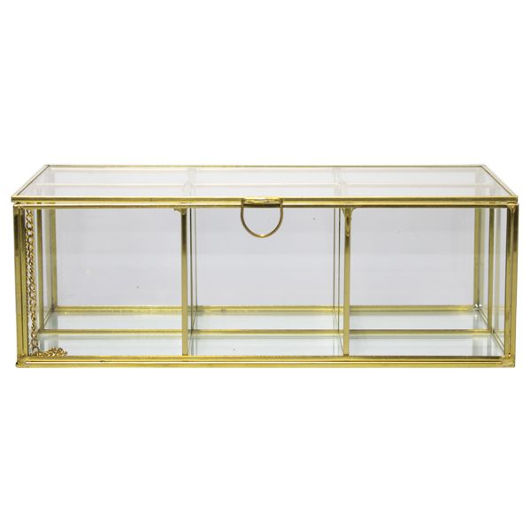 Caixa Em Vidro e Metal Dourada seis divisórias  - Arrivo Mobile