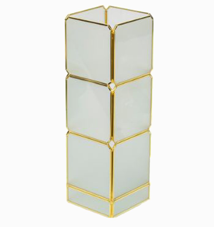 Caixa Vidro Metal Branco E Dourado 32x10x10cm  - Arrivo Mobile