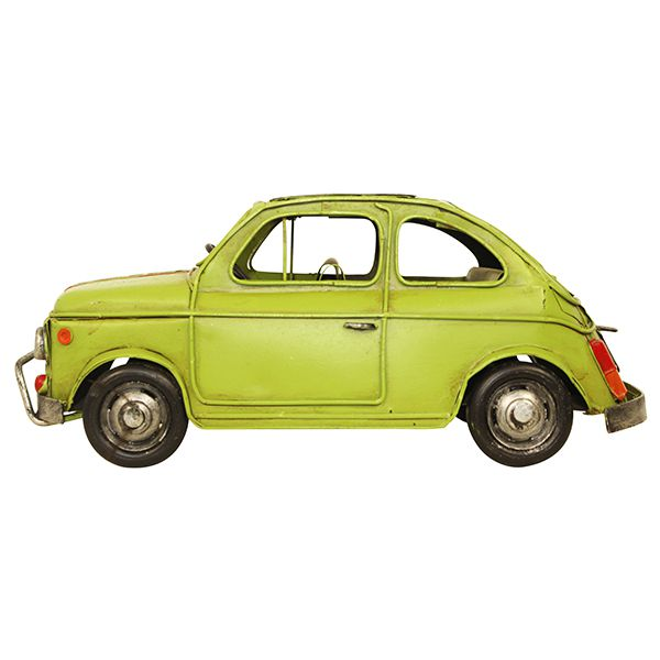 Carro Fiat 500 Verde Em Metoldway 47x3x12cm  - Arrivo Mobile