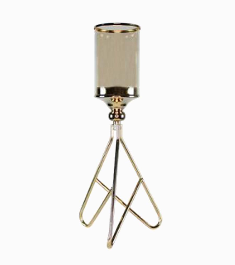 Castiçal De Chão Pequeno Metal Cor Cobre 45x17x17cm  - Arrivo Mobile