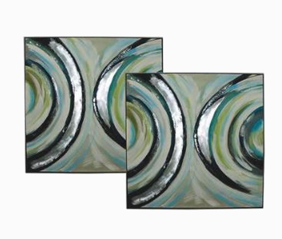 Cj 2 Quadros Pintura Abstrata Meio Circulo 100x100x5cm  - Arrivo Mobile