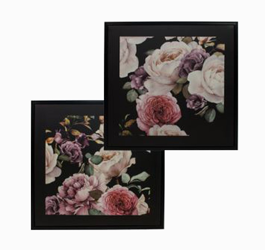 Cj 2 Telas Impressas C/ Mold Rosas Dark Floral  - Arrivo Mobile