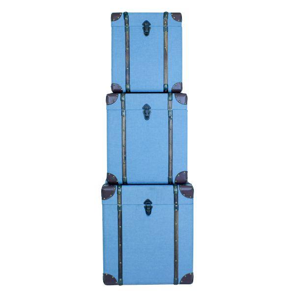 Conjunto 3 Baús Blue Tecido  - Arrivo Mobile