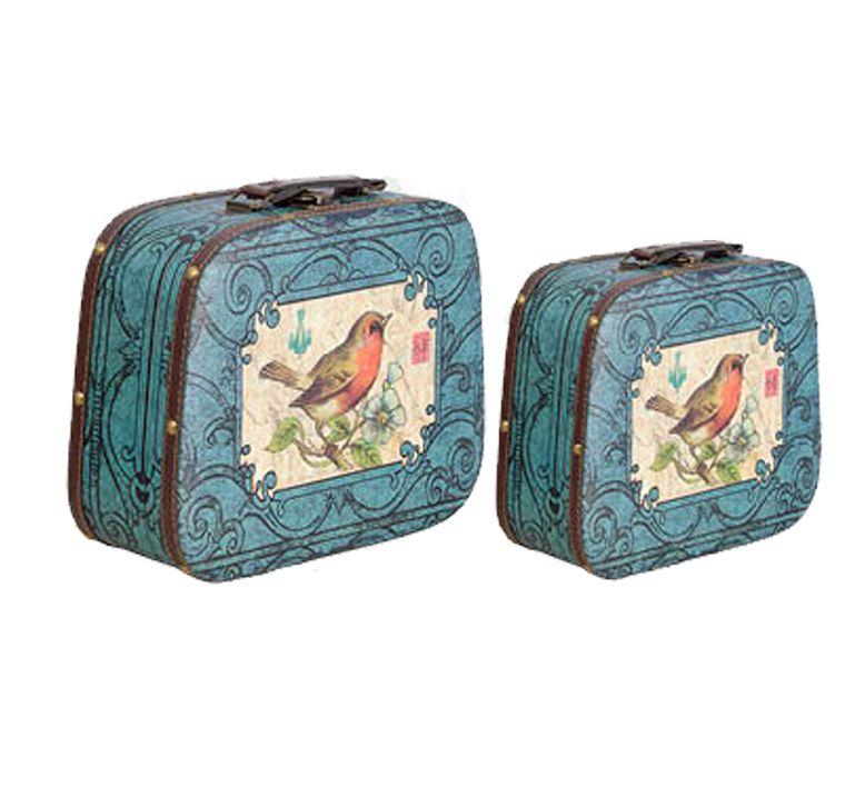 Conjunto De Maleta 2 Peças Arabesco Com Pássaros 33x29x13cm  - Arrivo Mobile