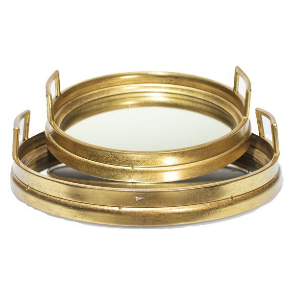 Conjunto Duas Bandejas Redondas Em Metal Douradas  - Arrivo Mobile