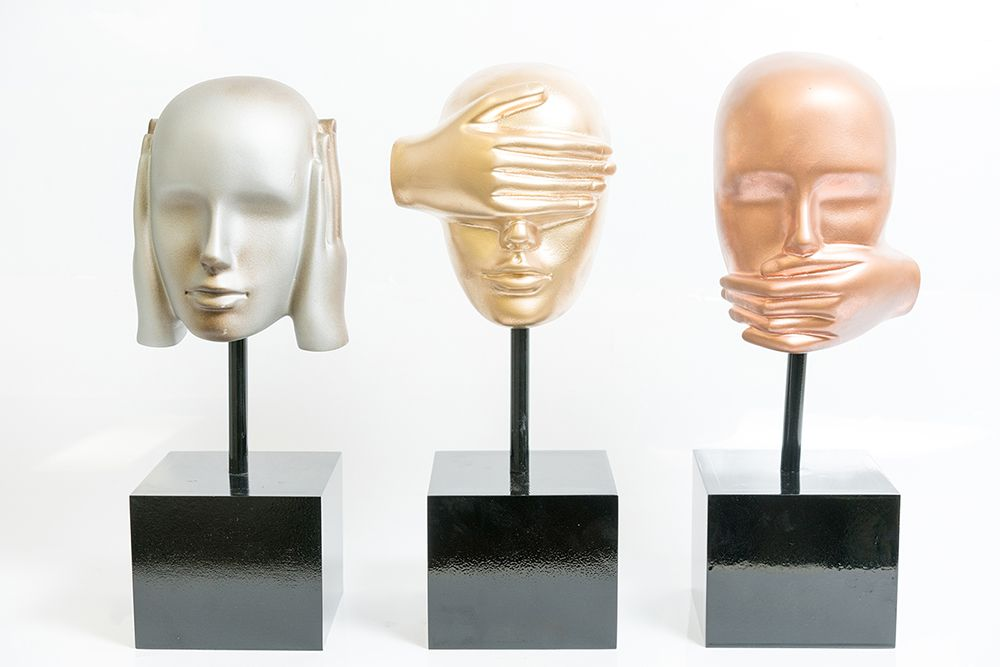 Conjunto Máscara Escultura Cega, Surda E Muda Em Resina  - Arrivo Mobile