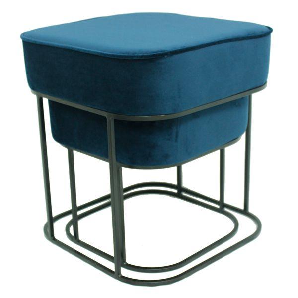 Conjunto Puff Quadrado De Veludo Azul Com Pés De Ferro Preto 46x42x42cm  - Arrivo Mobile