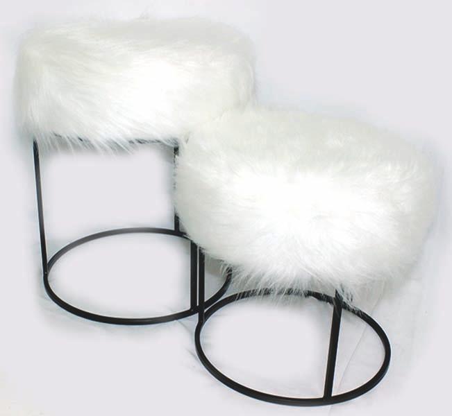 Conjunto Puff Redondo Com Pelos Off  White Ferro Preto 44x41x41cm  - Arrivo Mobile