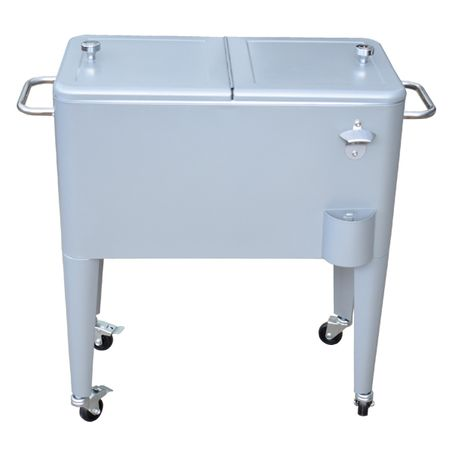 Cooler Carrinho para Bebidas em Metal Retro Cinza Grey Fullway  - Arrivo Mobile