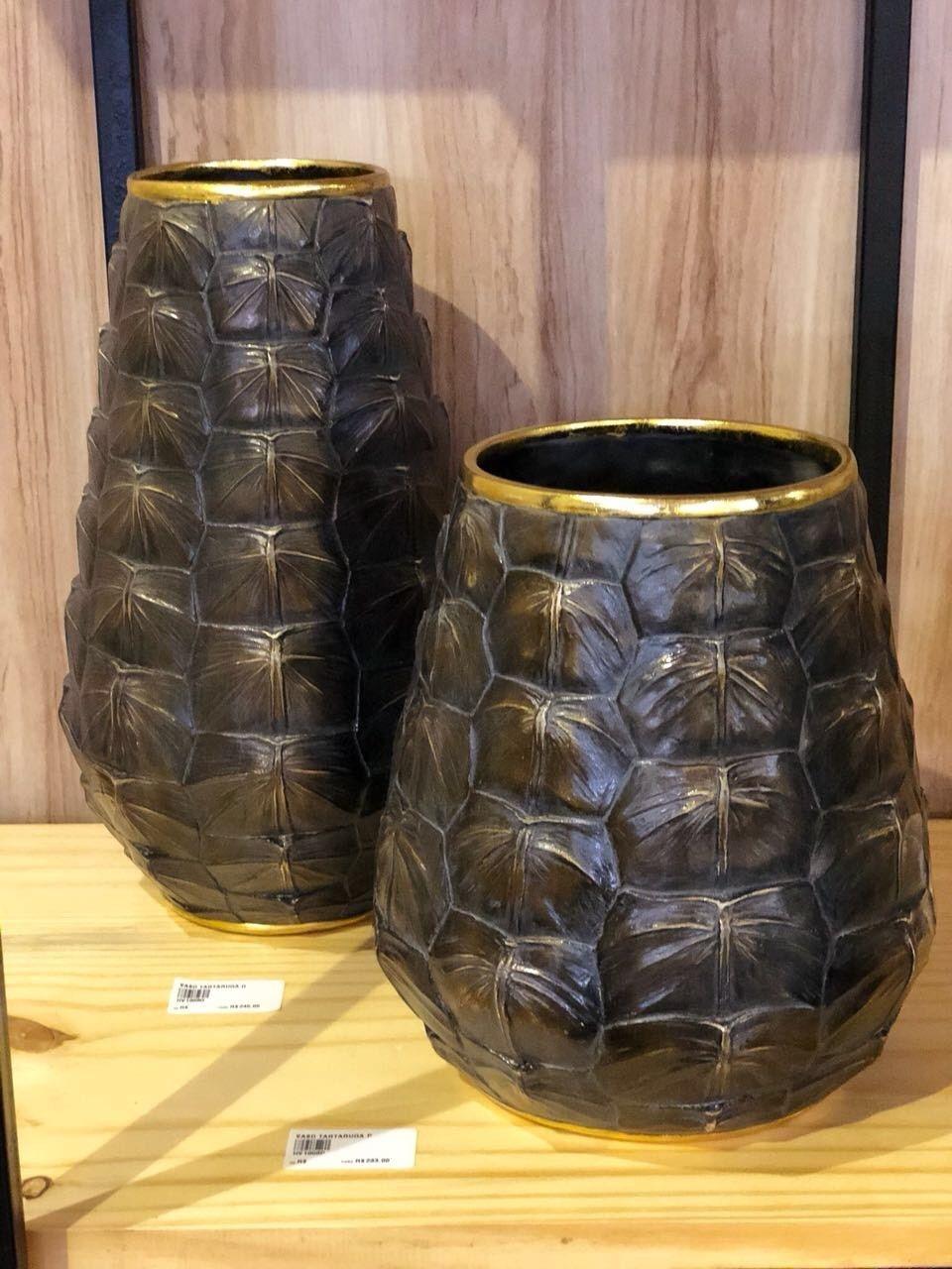 Vaso Decorativo Em Resina Estilo Couro De Tartaruga 35 X 20 X 20  - Arrivo Mobile