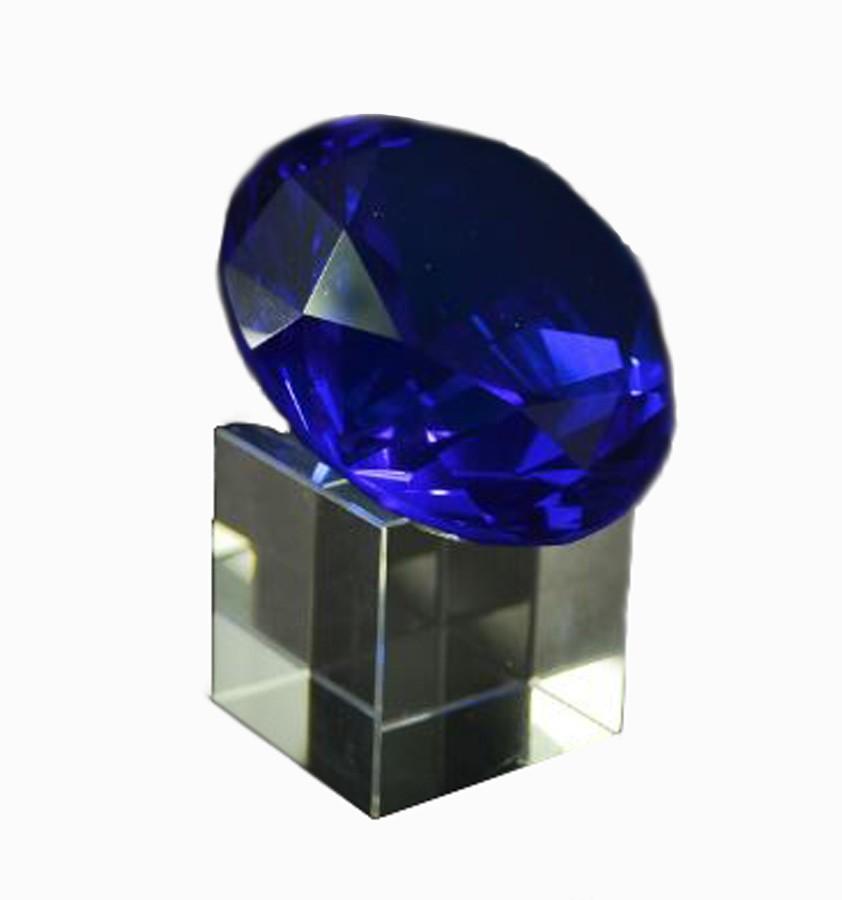 Diamante Cristal Azul 60mm C/ Base Imp  - Arrivo Mobile