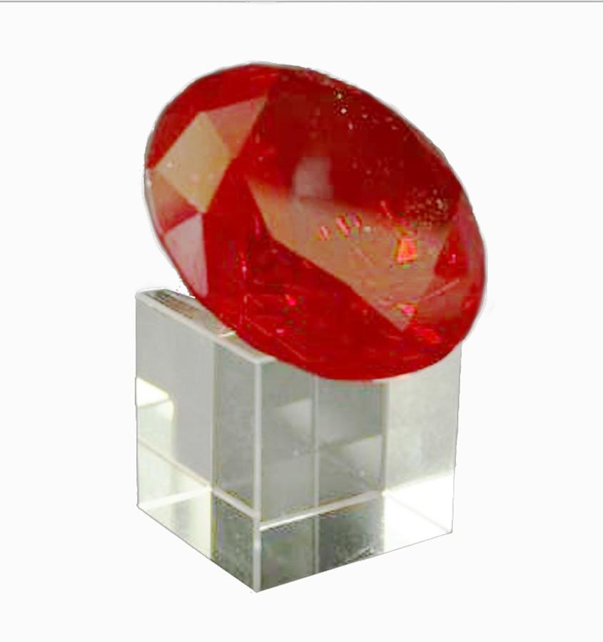 Diamante Cristal Vermelho 60mm C/ Base Imp  - Arrivo Mobile