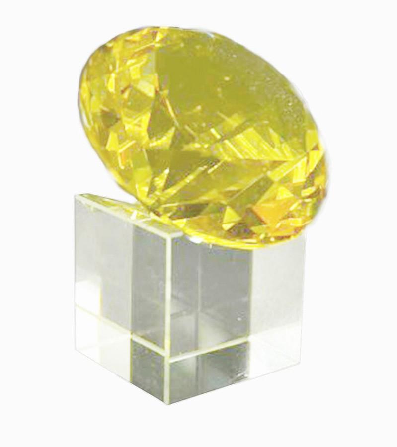 Diamante De Cristal 60mm Amarelo Com Base  Imp  - Arrivo Mobile
